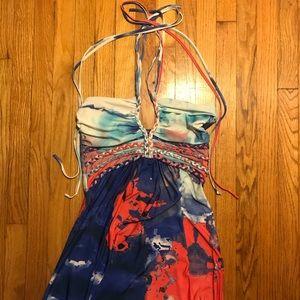 Watercolor halter maxi dress